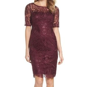 Papell Sequin Embellished Dress WINE Size 4P #633